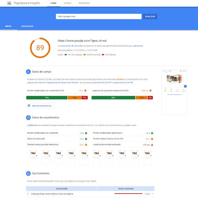 PageSpeed Insights, ahora con la tecnología de Lighthouse